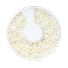 White Plastic Twinkle Round Pearl Nail Art Decorations
