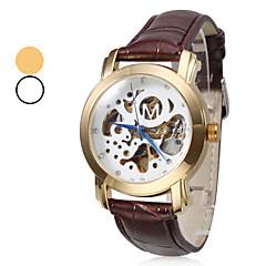 Männer-Auto-mechanisches Skelett Goldgehäuse braun pu-Band-Armbanduhr (farblich sortiert)