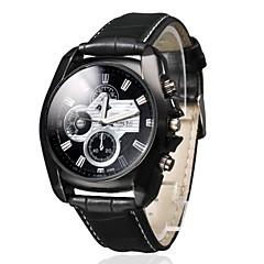 남자의 비즈니스 스타일의 블랙 PU 가죽 밴드 석영 손목 시계 다이얼