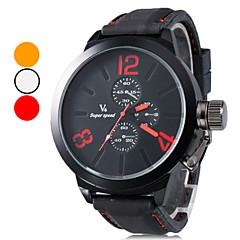 남자 캐주얼 스타일 실리콘 아날로그 쿼츠 손목 시계 (블랙)