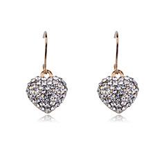 Korean fashion stedded with drill peach heart Earrings