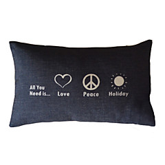 Love & Peace Cotton/Linen Decorative Pillow Cover