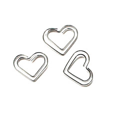 Heart Pattern Silver Plastic Wrapped Paper Clips(10PCS)