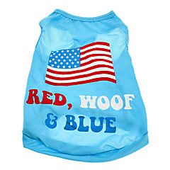 Perros Camiseta Azul Ropa para Perro Verano Bandera Nacional / América / EE.UU.