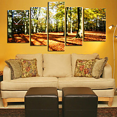 Modern Scenic Forest Wall Clock in Canvas 5pcs
