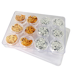 12PCS Golden and Silver Leaf Nail Art Decorations