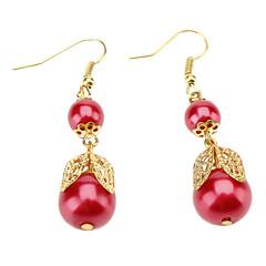 Red Pearl Bow Earrings