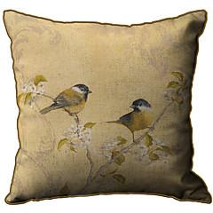 Oriole Pattern Print Linen Decorative Pillow Cover