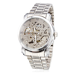 Men's Auto-Mechanical Silver Skeleton Steel Band Wrist Watch