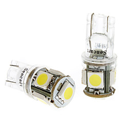 T10 1W 5x5050SMD White Light LED Bulb for Car Instrument/Side Marker Lamps (DC 24V, 1-Pair)