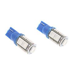 T10 1W 9x5050SMD Blue Light LED Bulb for Car Instrument/Side Marker Lamp (12V, 1-Pair)