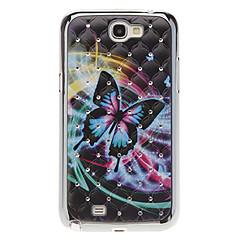 Fargerik sommerfugl mønster vanskelig sak med Rhinestone for Samsung Galaxy Note 2 N7100