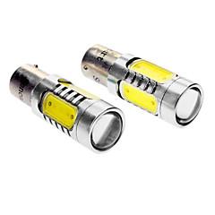 BAZ15D 7W 350-380LM 5-LED de luz blanca de la lámpara del coche de respaldo (DC 12-24V, 1 par)