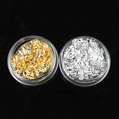 12PCS 2-kleuren Golden & Silver Leaf Nail Art Decorations
