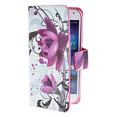 Varten Samsung Galaxy kotelo Korttikotelo / Tuella / Flip / Kuvio / Magneetti Etui Kokonaan peittävä Etui Kukka Tekonahka Samsung S4 Mini