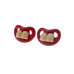 Red Creative Funny Teeth Personality Pacifier Soother Nipple