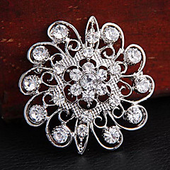 Women's  Round Flower Shape Rhinestone Brooch