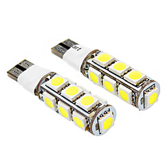 T10 2.5W 13x5050SMD 140-160LM 6000-6500K 2-Mode White Light LED Bulb for Car (DC 12V, 2-Pack)