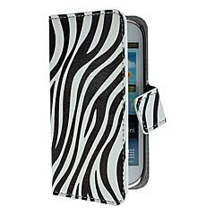 Zebra Pola PU Kulit Kasus dengan Stand dan Card Slot untuk Samsung Galaxy S3 Mini I8190