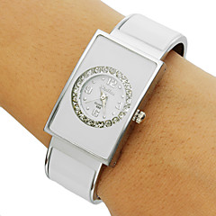 Women's Diamante Round Pattern Rectangle Dial Alloy Band Bracelet Watch (Assorted Colors)