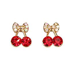 Women's Cute red cherry delicate diamond earrings E471
