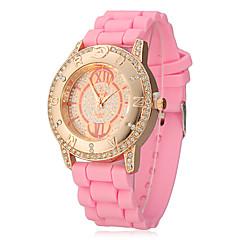 Chronographe à quartz analogique Or Cadran de femmes Rose Silicones Band Wrist Watch