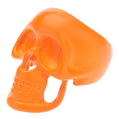 Fluorescent Orange Skull Ring