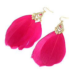 Alloy Hollow Feather Earrings(Assorted Color)