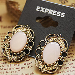 Retro Court Style Hollow Lace Precious Stone Stud Earrings E329