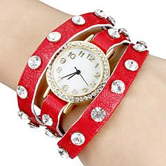Frauen Runde Zifferblatt breite Diamante Band Quarz Analog Armband Uhr (verschiedene Farben)
