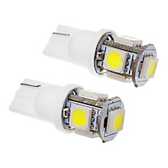 2 st T10 1.5W 5x5050SMD 100-120LM 6000K Cool White Light LED Bulb (12V)