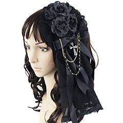 Mücevher Gotik Lolita Başlık Prenses Siyah Lolita Aksesuarları Başlık Fiyonk Düğüm İçin Dantel Saten Suni Değerli Taş