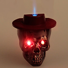 Refroidir Skull Heads style Blue Flame briquet au butane W / Light + Sound (bronze, rouge foncé)