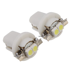 B8.5 2pcs 0.2W 2x3528SMD 10LM 6000-6500K Cool White Light Bulb LED (DC12V)