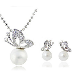 Pearl Butterfly Earrings & Necklace Jewelry Set