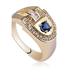Noble Men' D-hape Deign Gold Finih 925 terling ilver Ring With Round Zircon