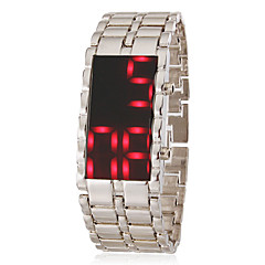 Miesten Red Led Digital Dial Steel Band rannekelloa