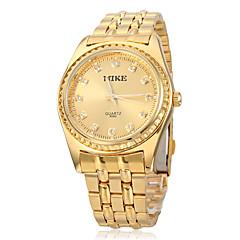 För män Diamante Round Dial Gold Alloy Band Quartz analog armbandsur
