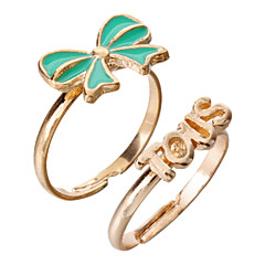 Women's Bowknot Golden Plated Adjustable Ring(Random Color)