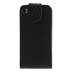 Flip up and down Designed Mat Print Black PU Full Body Case for iPhone 4/4S