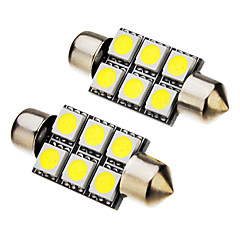 2 Pcs festoon 1W 36mm 6x5050SMD 70-90LM 6000K Cool White Light LED Bulb (12V)