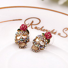 Women's   retro skull diamond earrings E596