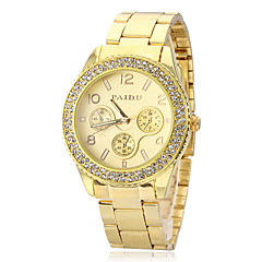 Unisex Diamante Gold Dial legering band Quartz analoog horloge