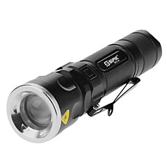Sipik SK96 3-AAA 5-Mode Cree XM-L T6 LED Zoom Flashlight with Clip (1000LM, 1x18650/3xAAA, Black)