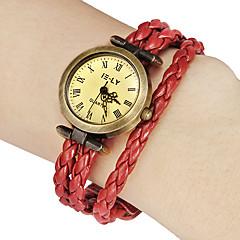 Mulheres Rodada do vintage para discar Pu Banda Quartz Analógico Pulseira Watch (cores sortidas)