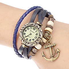 Women's Anchor Pendant Leather Band Quartz Analog Bracelet Watch (Assorted Colors)