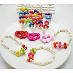 Sieraden 1 Ketting 1 Armband Feest Parel 1 Set Meisjes Rood Roze Giften van het Huwelijk