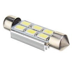 Festoon 2W 6x5730SMD 140LM ​​6000K Cool White Light LED pære for bil (12V DC, 41mm, 1 stk)