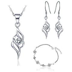 Sweet Silver Alloy Necklaces,Earrings&Bracelet Wedding Jewelry Sets Clear,Purple