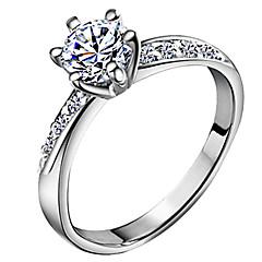 للمرأة خواتم حزام حب زفافي كلاسيكي والمجوهرات زركون تصفيح بطلاء الفضة ستة شوكات مجوهرات من أجل زفاف يوميا